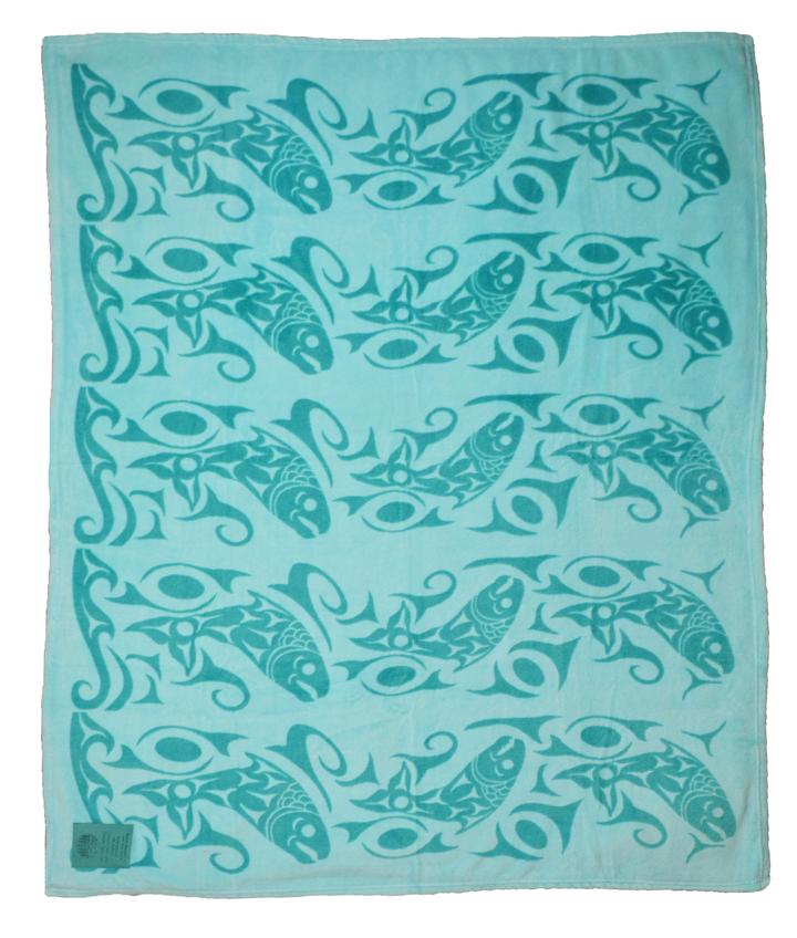 TheReturning of the Salmon Velura™ Throw blanket features a print by acclaimed Musqueam Nation artist andweaverDebra Sparrow. This wonderfully unique throw in vibrant colors will add a touch of culture to any room.